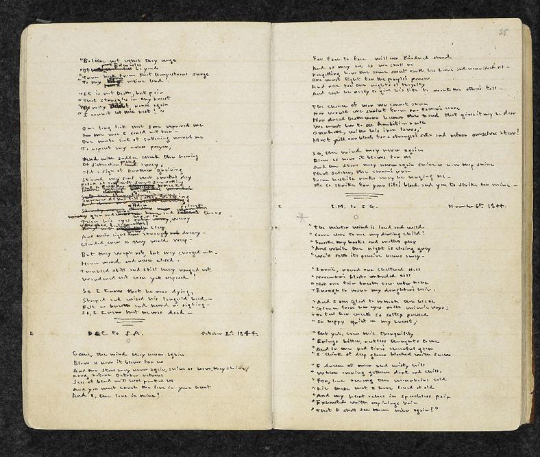 Páginas del cuaderno de Emily Brontë con poemas sobre Gondal.